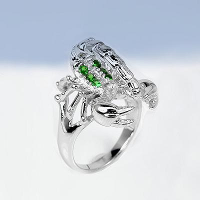 toller 925 silber skorpion ring mit echten kenia tsavorit. Black Bedroom Furniture Sets. Home Design Ideas